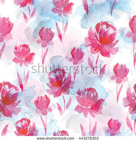 pink watercolor pattern seamless watercolor pattern pink flowers leaves stock