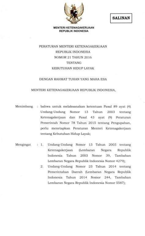 pph21 tahun 2016 b 6 peraturan menteri ketenagakerjaan nomor 21 tahun 2016