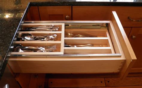 Custom Kitchen Drawer Organizers - double tiered cutlery tray eclectic kitchen dc metro by cameo kitchens inc