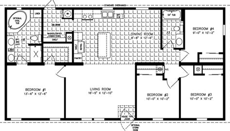 4 Bedroom Mobile Home Floor Plans by 1200 To 1399 Sq Ft Manufactured Home Floor Plans