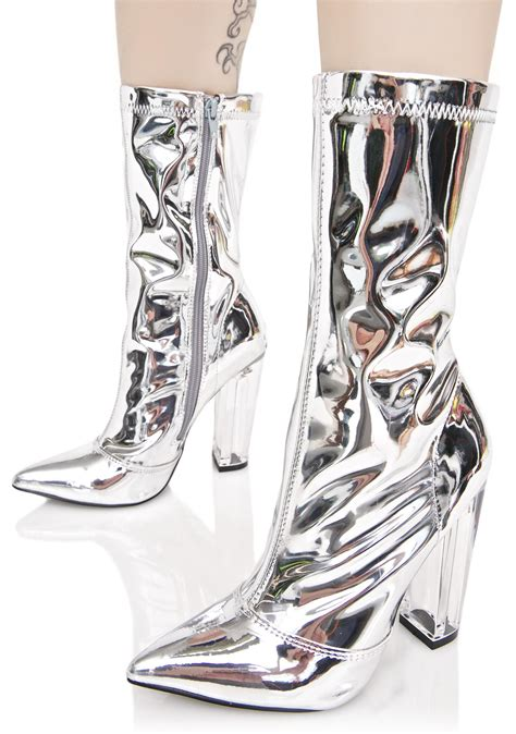 silver ankle boots silver metallic ankle boots dolls kill