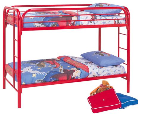 red bunk beds coaster toby twin over twin metal bunk bed in red finish
