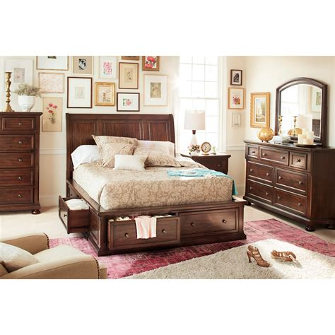 hanover  piece king storage bedroom set cherry american signature furniture
