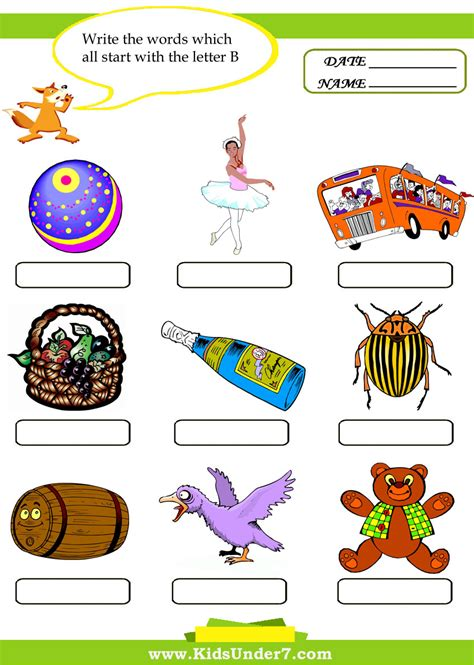 5 Letter Words With B free coloring pages of words that begin with b