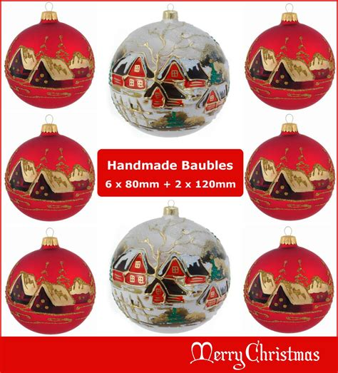 Handmade Baubles - 8 glass baubles 80mm 120mm handmade painted