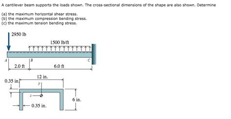 cross sectional dimension a cantilever beam supports the loads shown the cr