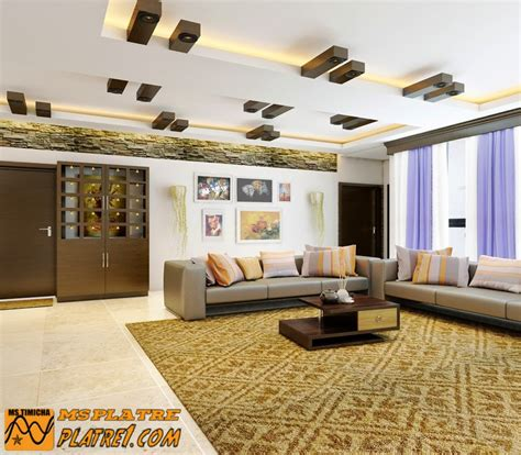 Platre Salon Moderne by Faux Plafond De Salon Moderne Platre
