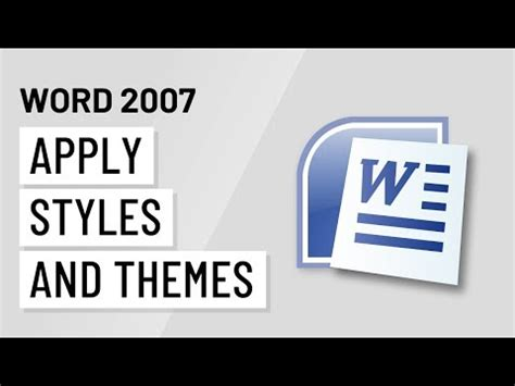 how do i apply themes and styles in excel with pictures word 2007 applying styles and themes youtube
