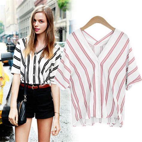 Blouse Stripe V Hijau casual blouse v neck vertical striped button shirt tops ebay