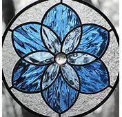 Blue Stained Glass Mandala Star Round Suncatcher