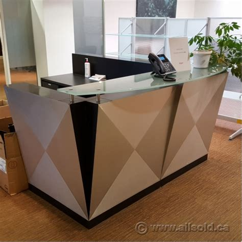 reception desk with transaction counter contemporary 78 x 96 reception desk w glass transaction