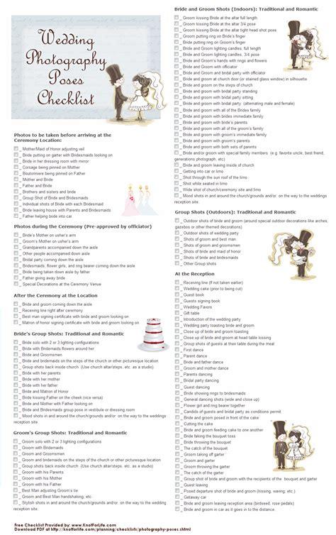 List Of Wedding Photos To Take