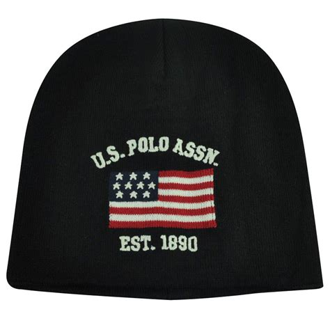 Polo Caps Assc us polo assn association brand flag logo cuffless hat black beanie knit toque ebay