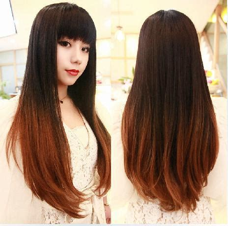 rambut ombre fashion perucas long two tone ombre black blonde hair no