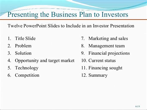 business plan template for investors chapter 4 writing a business plan entrepreneurship