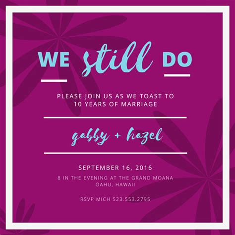10th wedding anniversary invitation wording 10th wedding anniversary floral invitation templates by