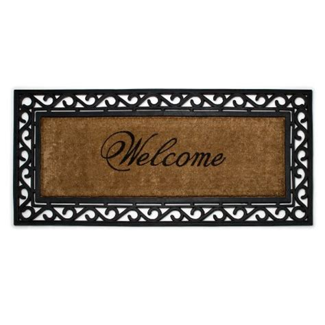 leighmg abbott coir and rubber welcome door mat
