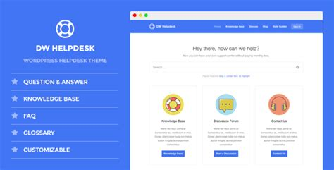 Dw Helpdesk Knowledge Base Q A Faq Wordpress Theme By Designwall Help Desk Website Template Free