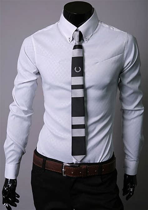 Tshirt Kepala Macan One Clothing new mens slim fit sleeve formal business shirt tops
