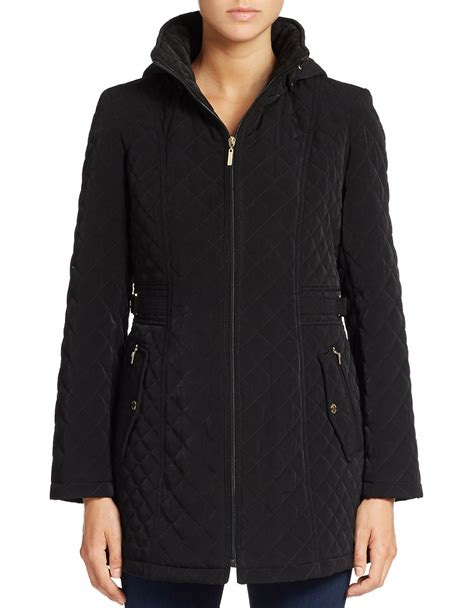 Gallery Quilted Coat by Gallery Hooded Quilted Coat In Black Lyst