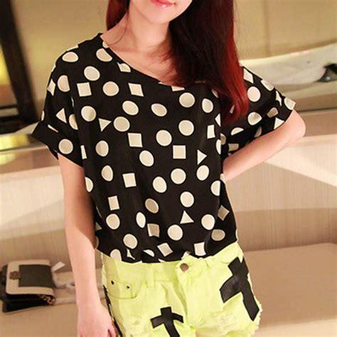 Cy50829 T Shirt Top Blouse Printed Import korean s sleeve birds printed chiffon t shirt tops blouse ebay