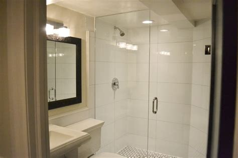 Large White Wall Tiles Bathroom by Basement Bathroom With Basketweave Floor And Large White