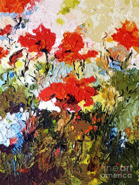 expressive abstract abstract expressive poppies provencale painting by ginette