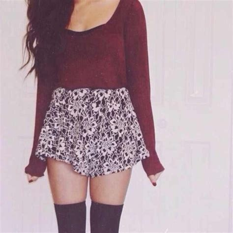 skirt sweater skater skirt burgundy knee high socks