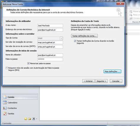 email pt configurar o e mail no outlook 2010 portugalmail suporte