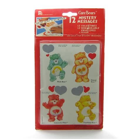 a mysterious valentines card care bears valentines with mystery messages vintage pack
