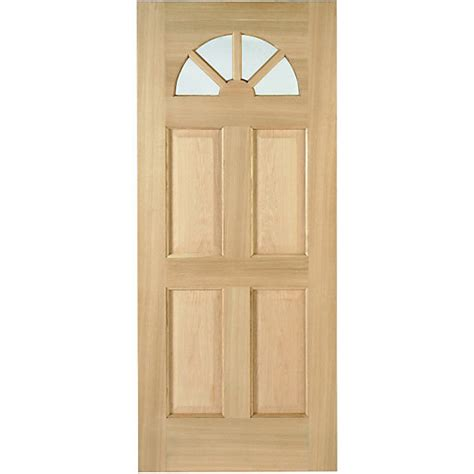 Wickes Front Door Wickes Carolina External Oak Veneer Door Glazed 4 Panel 2032x813mm Wickes Co Uk