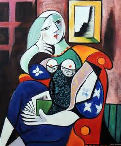 libro picasso portraits picasso abstract woman reading book seated 20x24 repro