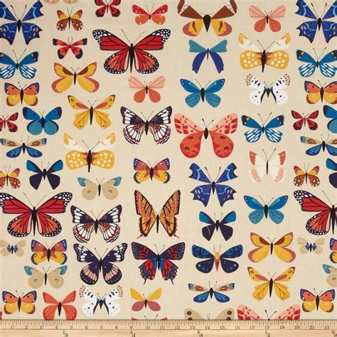 house of fabric natural history butterflies cream discount designer fabric fabric com