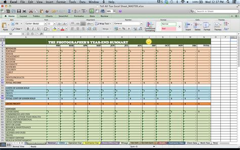 Tax Spreadsheets For Photographers Bp4u Guides Excel Templates For Photographers