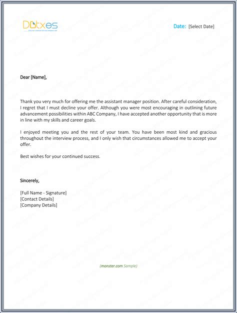 Letter Mail Decline Sle Reply Letter For Acceptance Cover Letter Templates