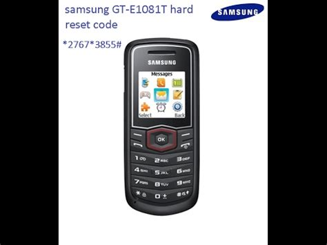 reset samsung factory settings code samsung gt e1081t hard reset code youtube