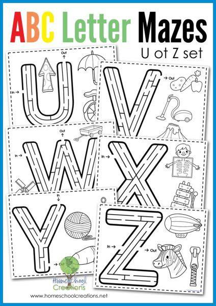 printable maze letter d alphabet mazes letters u to z free printable