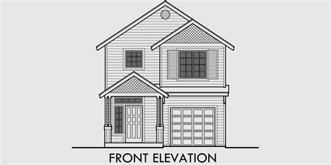 drawing of a house with garage narrow house plan at 22 feet wide open living 3 bedroom 2