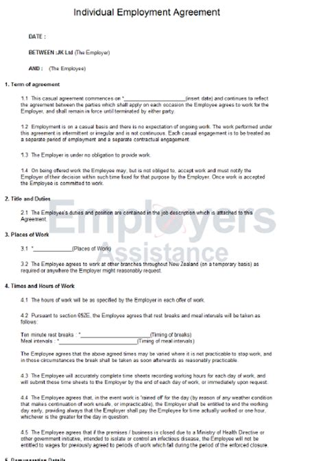 casual employment contract template casual employment contract agreement employers