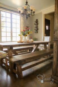 Dining Room Table Bench Ideas White 4x4 Truss Benches Diy Projects