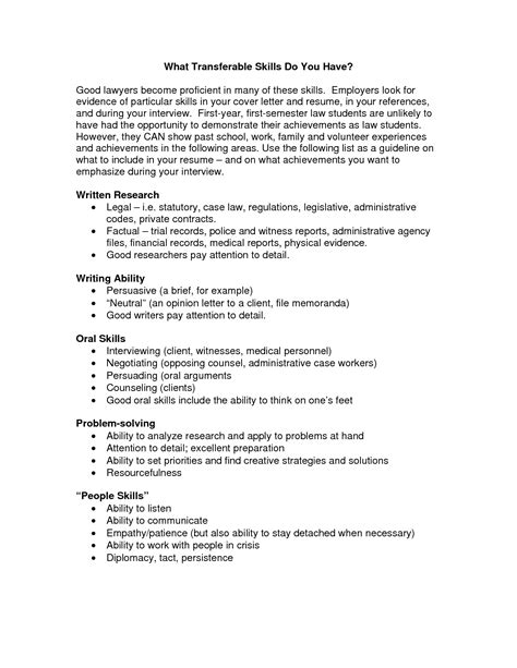 resume transferable skills exles best photos of cover letter for transferable skills