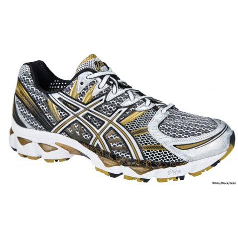 asics running shoes gel nimbus 12 mens road running shoes white black gold at