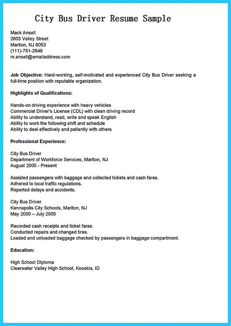 Stunning Bus Driver Resume To Gain The Serious Bus Driver Job School Driver Resume Template