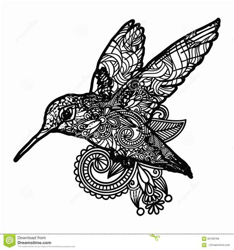 zentangle stylized bird illustration hand drawn doodle