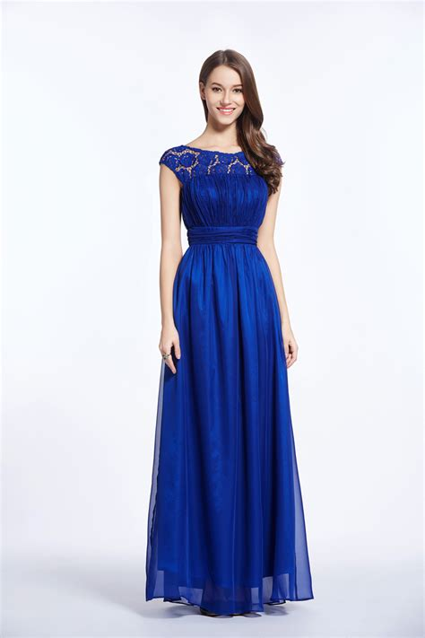 boat neck open back prom dress gmisy royal blue high waist chiffon lace dress boat neck