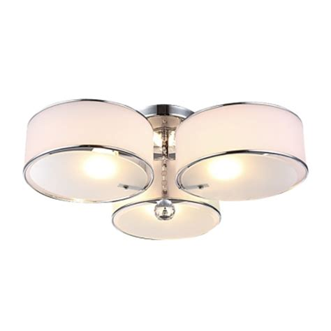 Three Lights Acrylic Drum Shade Semi Flush Mount Ceiling Acrylic Ceiling Lights
