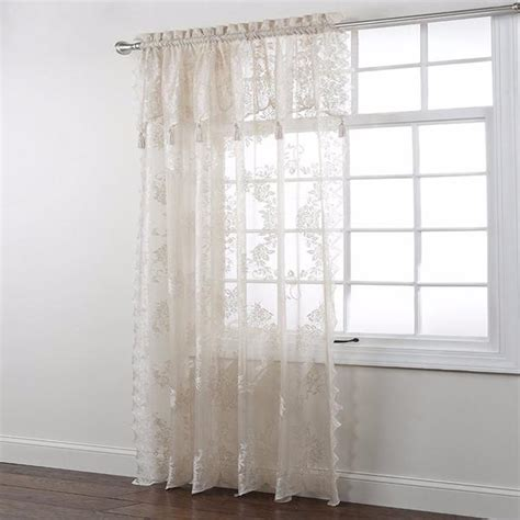 lace curtains with attached valance carly lace panel with attached valance curtainshop com