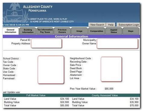 Allegheny County Property Tax Records Allegheny County Pa Assessment Search Lookup