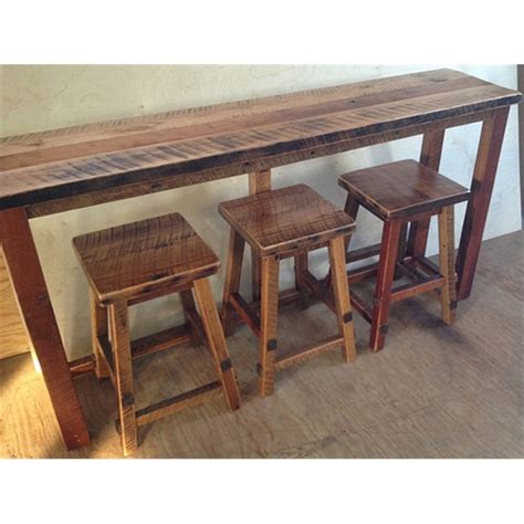 reclaimed wood bar table reclaimed barn wood breakfast bar with 3 stools