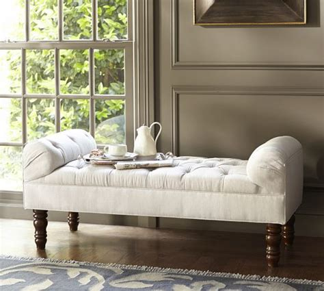 pottery barn white bench lorraine tufted bench